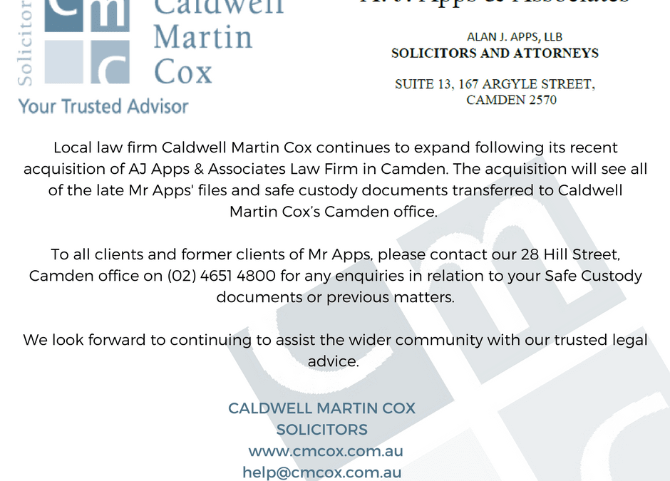CMC's acquisition of A.J. Apps & Associates