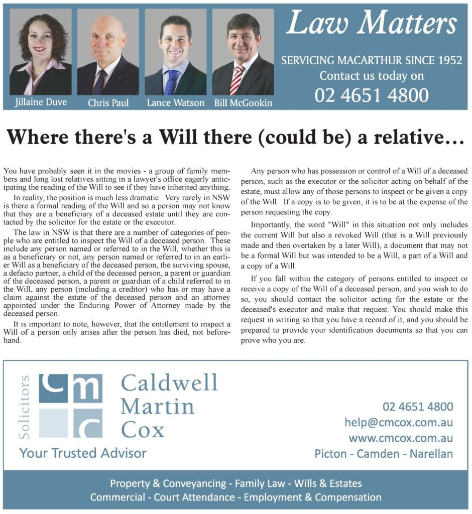 Where there's a Will there (could be) a relative…..