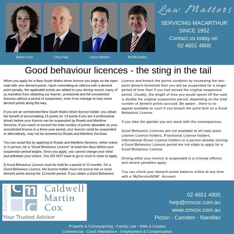 Good Behaviour Licences – the sting in the tail