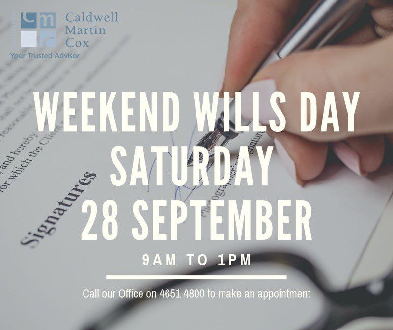 Weekend Wills Day – Back by Popular Demand