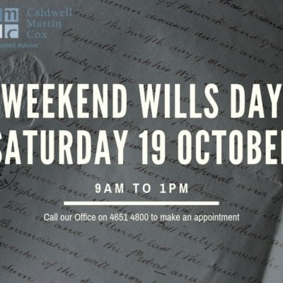 Weekend Wills Day is back!