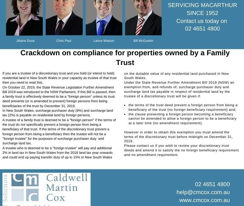 Crackdown on compliance for properties owned by a Family Trust