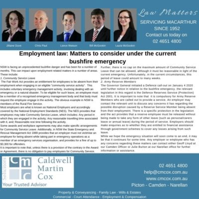 Employment law: Matters to consider under the current bushfire emergency