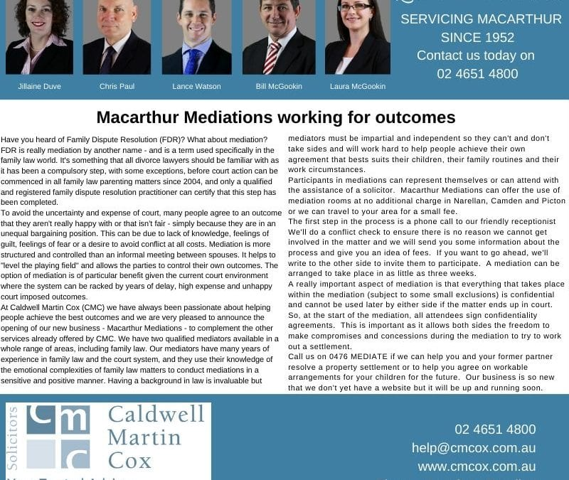 Macarthur Mediations working for outcomes
