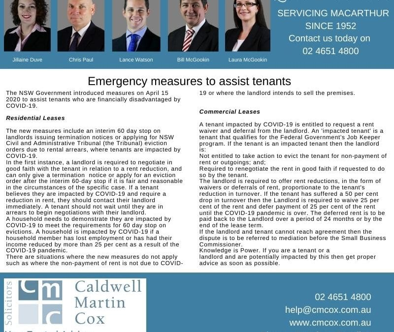 Emergency Measures for Tenants