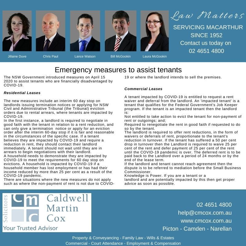 Emergency Measures for Tenants | CMCox
