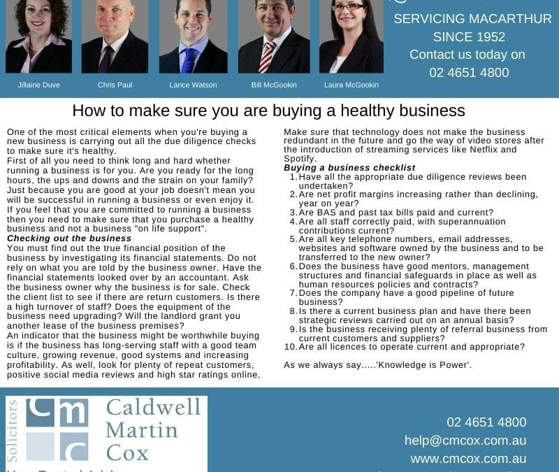 Buying a Healthy Business