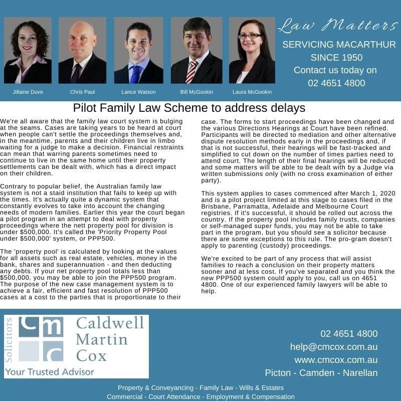 PPP500 - Pilot Family Law Scheme - CMCox